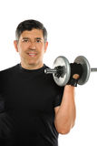Hispanic Man Curling Dumbbell Stock Photos