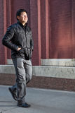 Hispanic man going for a walk Stock Photo
