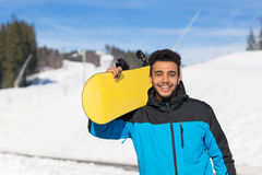 Hispanic Man Hold Snowboard Ski Resort Winter Snow Mountain Cheerful Happy Smiling Guy Stock Images