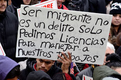 Hispanic Man at an Immigration Protest in Wisconsin Stock Images