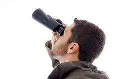 Hispanic Man Looking Through Binoculars Stock Photos