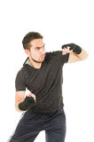 Hispanic man martial arts fighter wearing black Royalty Free Stock Images