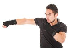 Hispanic man martial arts fighter wearing black Stock Image