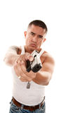 Hispanic Man Pointing Gun Royalty Free Stock Images