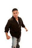 Hispanic Man Preparing for a Fight Stock Images