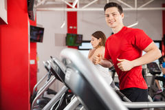 Hispanic man running at the gym Royalty Free Stock Images