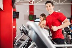 Hispanic man running at the gym Royalty Free Stock Images