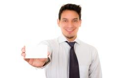 Hispanic Man's hand showing business card Stock Image