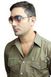 Hispanic man with sunglasses isolated on white Royalty Free Stock Photos