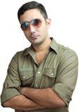 Hispanic man with sunglasses isolated on white Royalty Free Stock Images