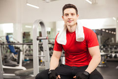 Hispanic man taking a break at the gym Royalty Free Stock Photography