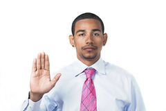 Hispanic man taking oath Royalty Free Stock Photo