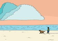 Hispanic Man Walking Dog at Beach. Cartoon illustration of Hispanic man walking dog at beach Stock Image
