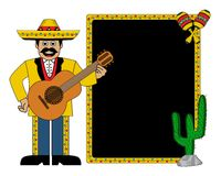 Hispanic man wearing a hat and with a guitar Royalty Free Stock Photos