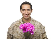 Hispanic Military Man with pink flowers Royalty Free Stock Photo