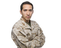 Hispanic Military Man Standing with Arms Crossed Stock Photo