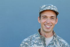 Hispanic Military Proud Man Smiles with Copy Space for Text royalty free stock photo