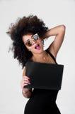 Hispanic model wearing black sexy dress and Royalty Free Stock Photography