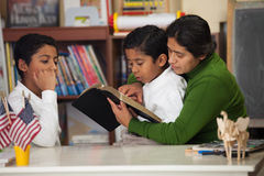 Hispanic Mom and Boys Reading the Bible During Worship Royalty Free Stock Photography