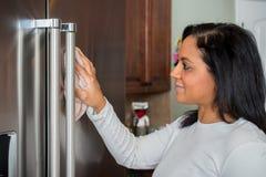 Hispanic Mom Cleaning. Happy hispanic mom cleaning her new refrigerator royalty free stock photo