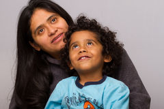 Hispanic Mom with Curly Hair Child Royalty Free Stock Photos