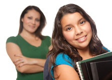 Hispanic Mother and Daughter Ready for School Stock Photography