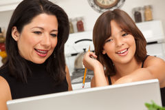Hispanic Mother and Mixed Race Daughter on the Laptop Royalty Free Stock Images