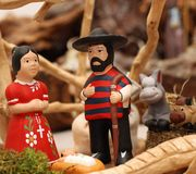Hispanic Nativity with Joseph with a shirt Stock Photos