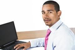 Hispanic office man looking up Royalty Free Stock Photo