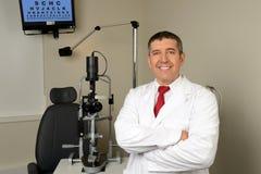 Hispanic Optician in Examination Room Royalty Free Stock Photo