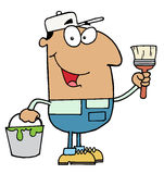Hispanic Painter. Happy smiling Painter holding a bucket of green paint vector illustration