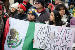 Hispanic People at an Immigration Protest in Wisconsin. Madison, WI, USA- February 18, 2016 - group of people protesting new Wisconsin immigration laws stock photos