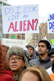 Hispanic People at an Immigration Protest in Wisconsin. Madison, WI, USA- February 18, 2016 - group of people protesting new Wisconsin immigration laws royalty free stock photos