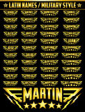 Hispanic popular names, Set of military style badges with personal latin names Stock Images