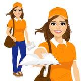 Hispanic post woman in orange uniform Stock Photos