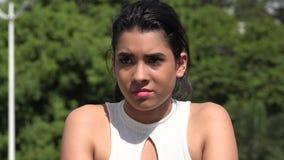 Hispanic Pretty Teen Girl And Confusion. A young female hispanic teen stock footage