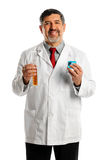 Hispanic Scientist with Beakers Stock Image