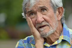 Hopeless Adult Male. A hispanic senior adult male Stock Photo
