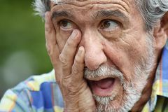 Male Under Stress. A hispanic senior adult male Royalty Free Stock Photo