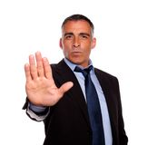 Hispanic senior businessman giving the high Royalty Free Stock Photo