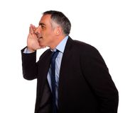 Hispanic senior businessman whispering Stock Photos