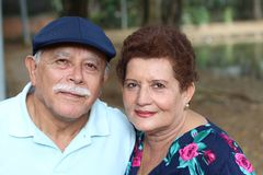 Hispanic senior couple with copy space royalty free stock photo