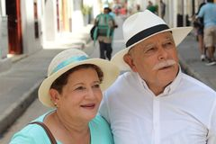 Hispanic senior couple with copy space stock images