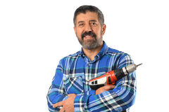 Senior Man Holding Drill. Hispanic senior man holding electrical drill isolated over white background stock photography
