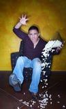 Hispanic Sports Fan with Popcorn Stock Photography