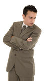 Hispanic stressed businessman in suit Stock Photography