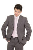 Hispanic stressed businessman in suit Stock Photo
