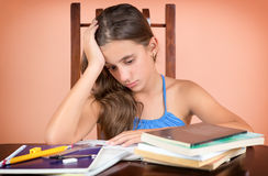 Hispanic student  exhausted after studying too much Royalty Free Stock Photos