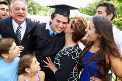 Hispanic Student And Family Celebrating Graduation. Outdoors Smiling Stock Image