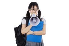 Hispanic student talking with megaphone Stock Photos